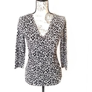 Micheal kors animal print v neck womens blouse